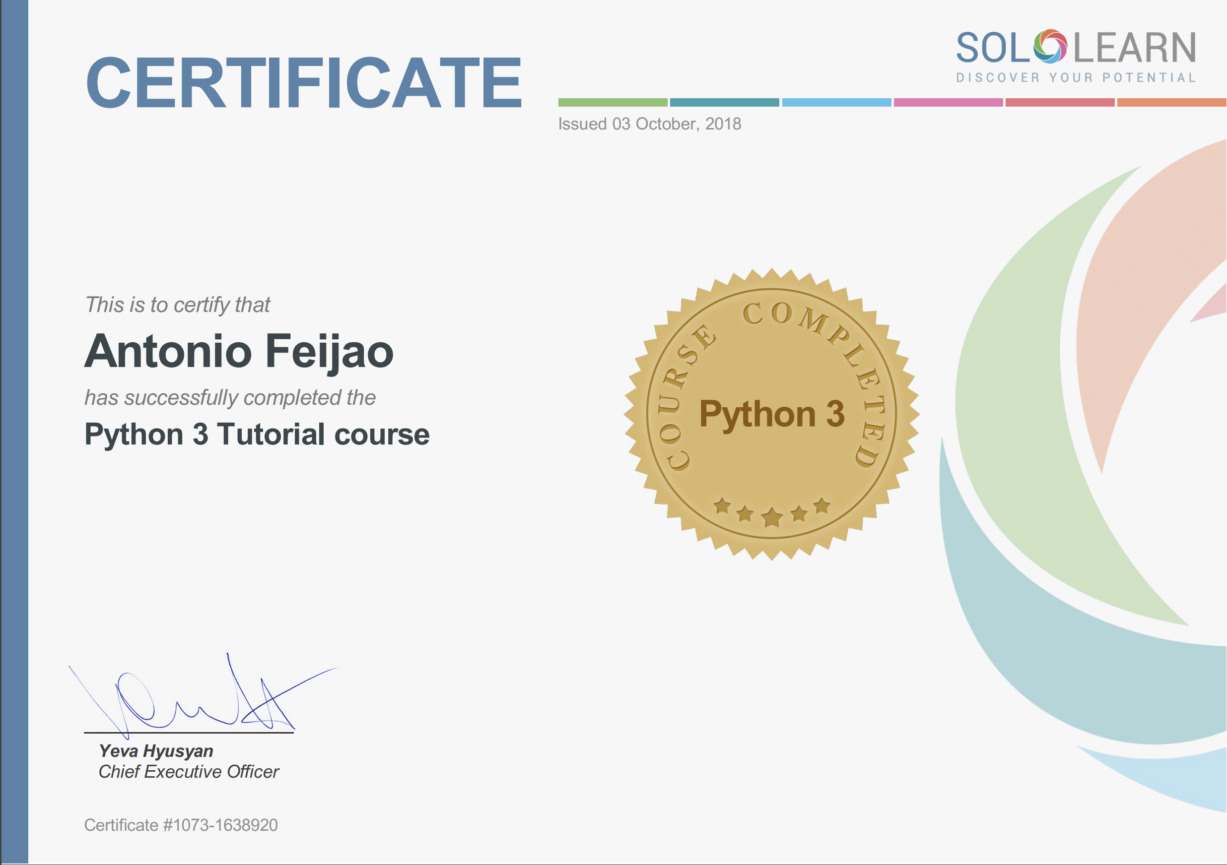 Antonio Feijao, Python 3, Python3, Programming language and coding
