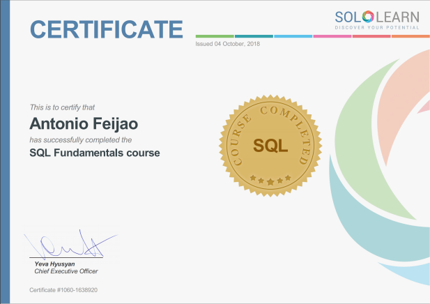 Antonio Feijao, Databases, MySQL, SQL